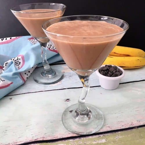 chocolate peanut butter smoothie in martini glass