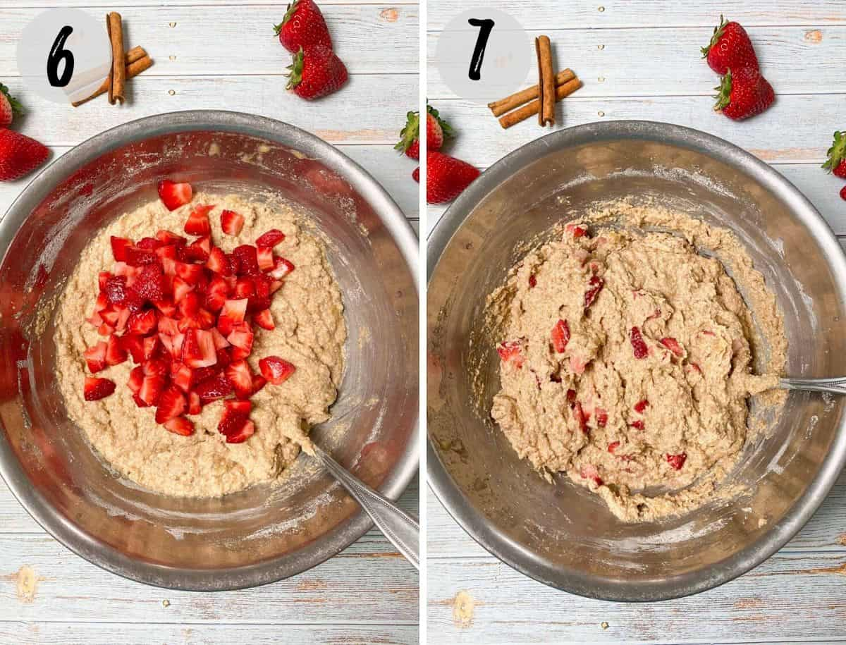 strawberries being folded into banana bread batter in large bowl