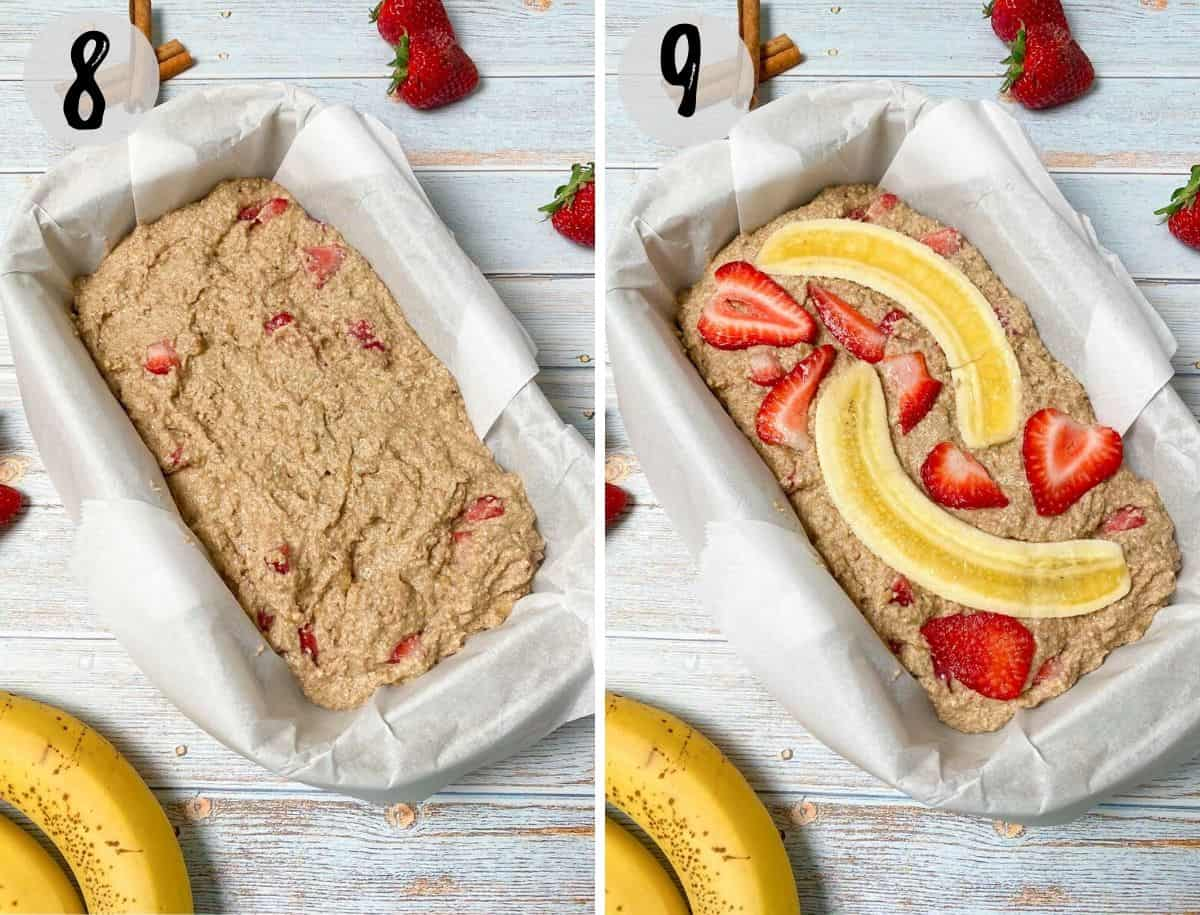 banana strawberry bread in loaf pan lined with parchment paper before baking