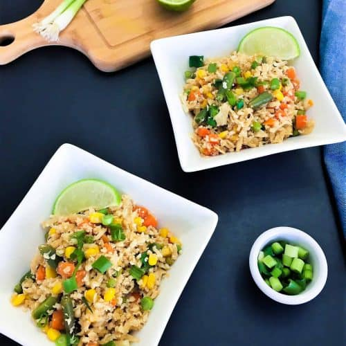 Cauliflower fried rice in bowls