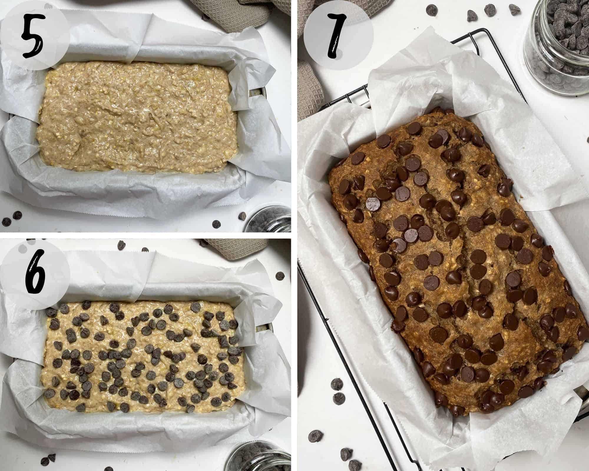 Collage of images showing banana bread in loaf pan raw and then baked.
