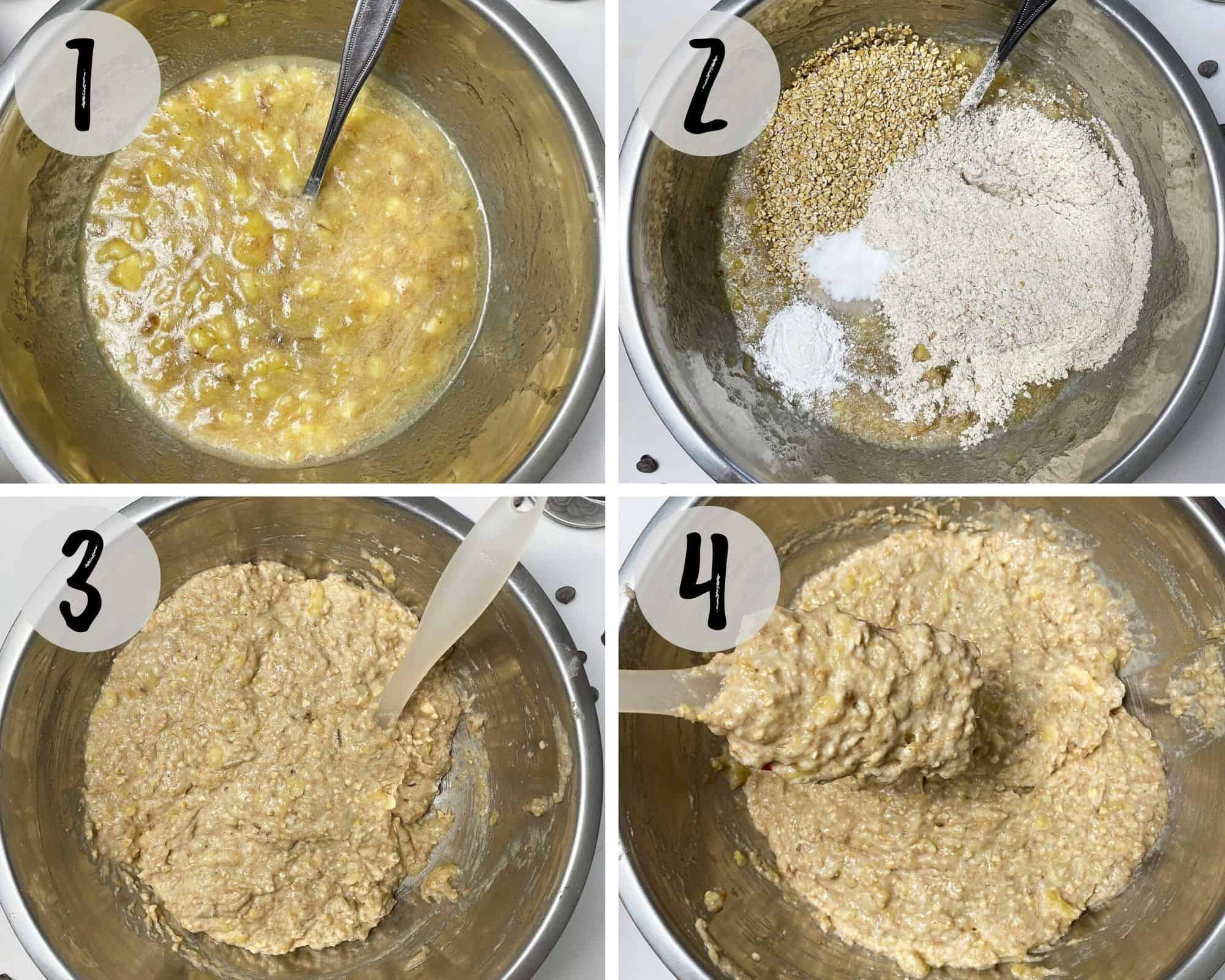 mixing bowl with banana bread batter being mixed together.
