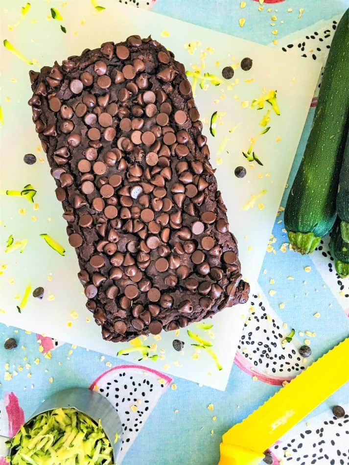 cooked chocolate zucchini bread on cutting board