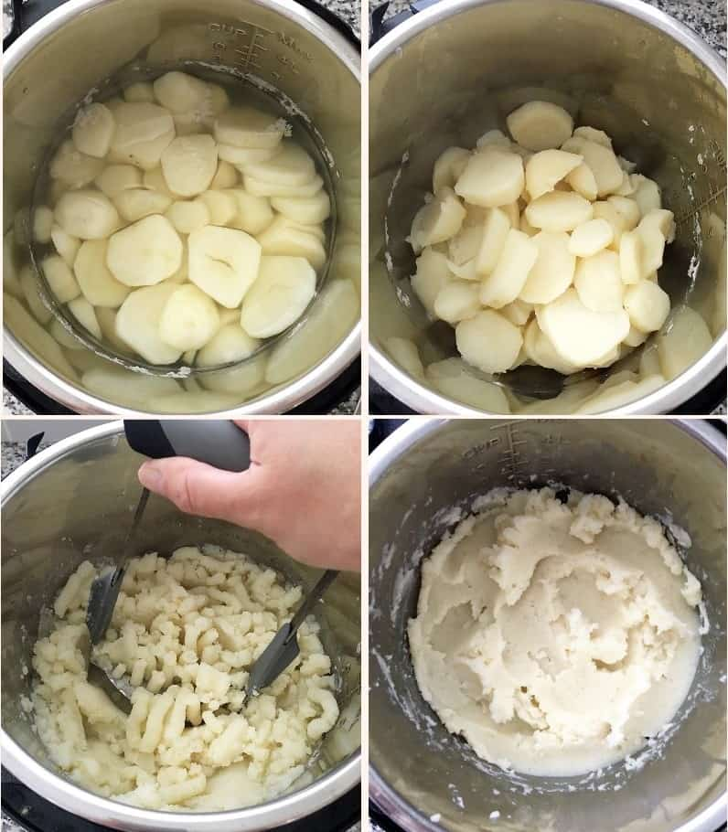 potatoes in instant pot being mashed