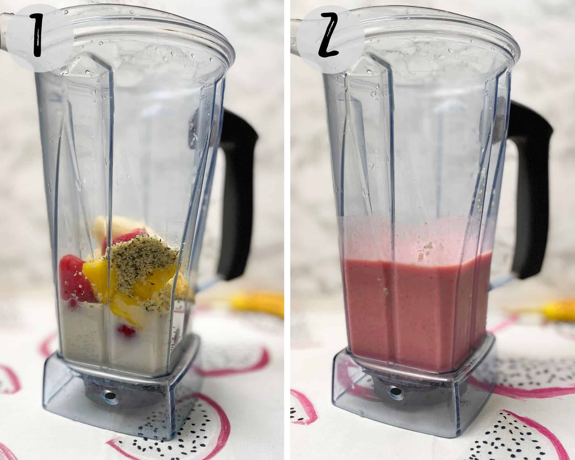 blender with banana, fruit and milk blended into a smoothie