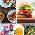 Vegan Summer Recipes - burger, skewers, salad, popsicles, soup