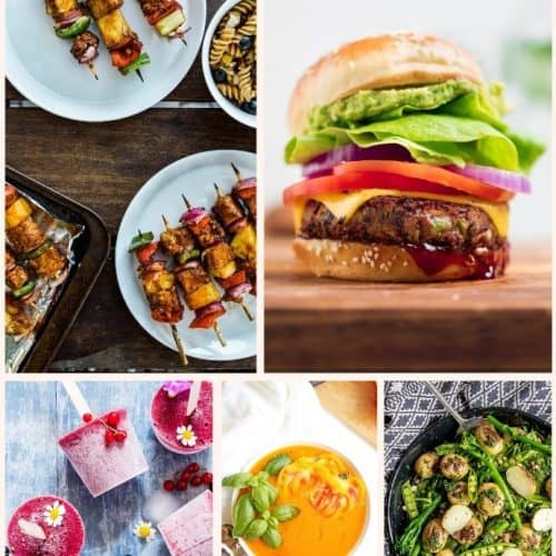 Vegan Summer Recipes - burger, skewers, salad, popsicles, soup