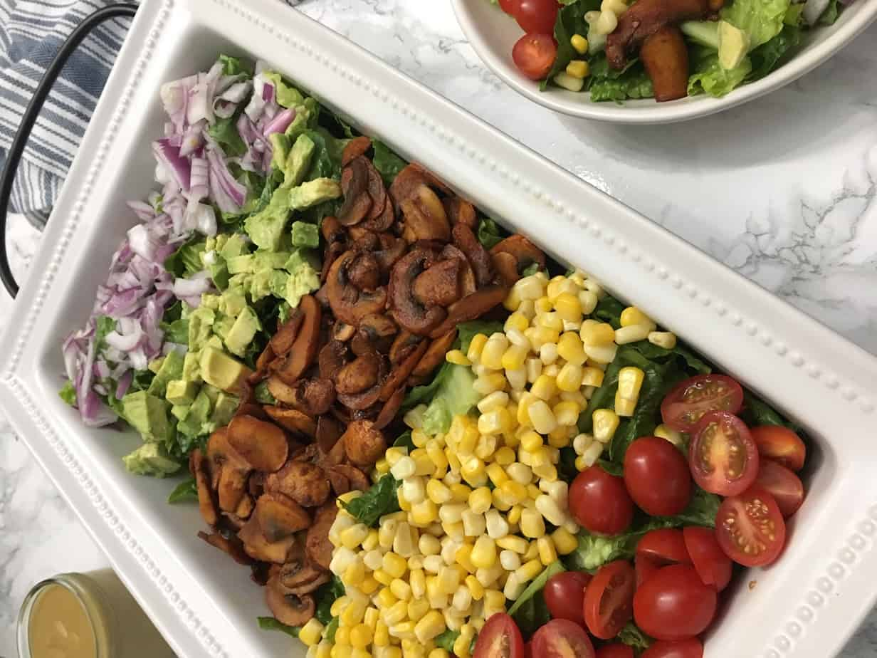 vegan cobb salad in serving platter