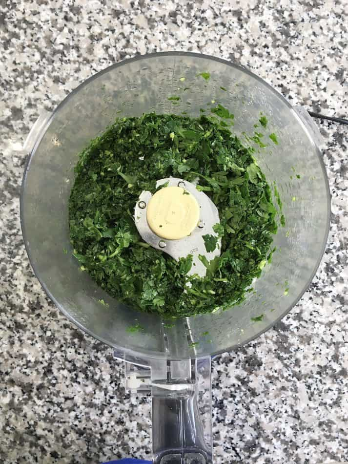 finely chopped herbs in food processor