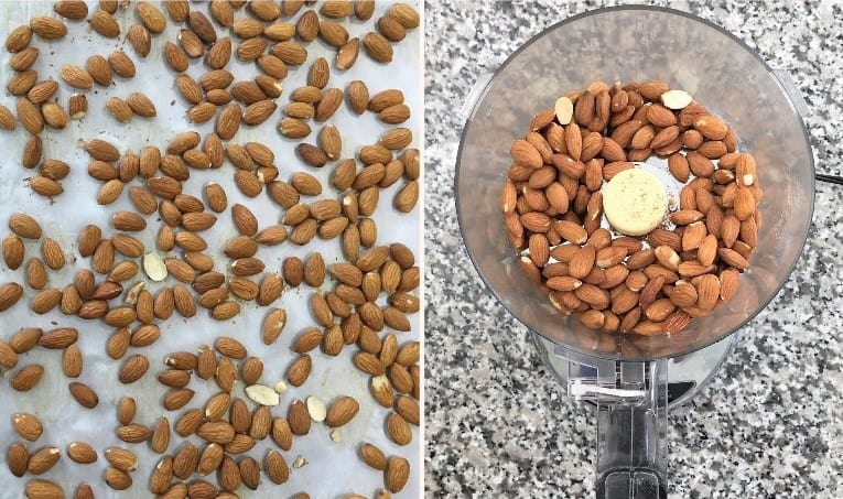 almonds in food processor