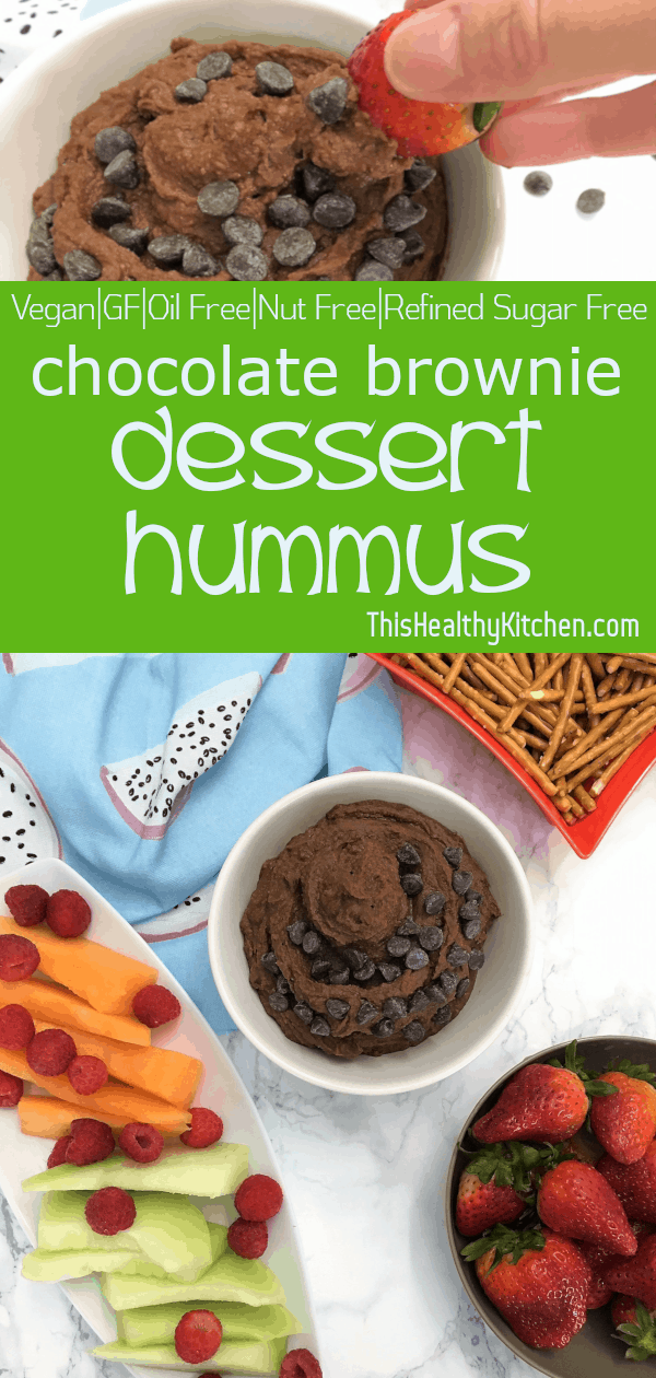 chocolate brownie dessert hummus pin