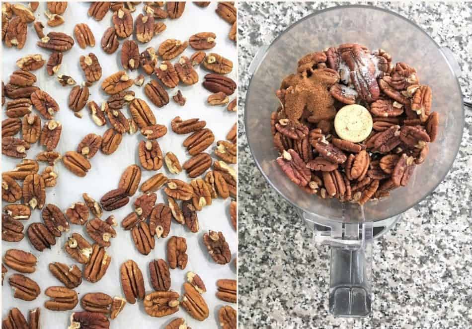pecans on tray with parchment paper and then inside food processor.