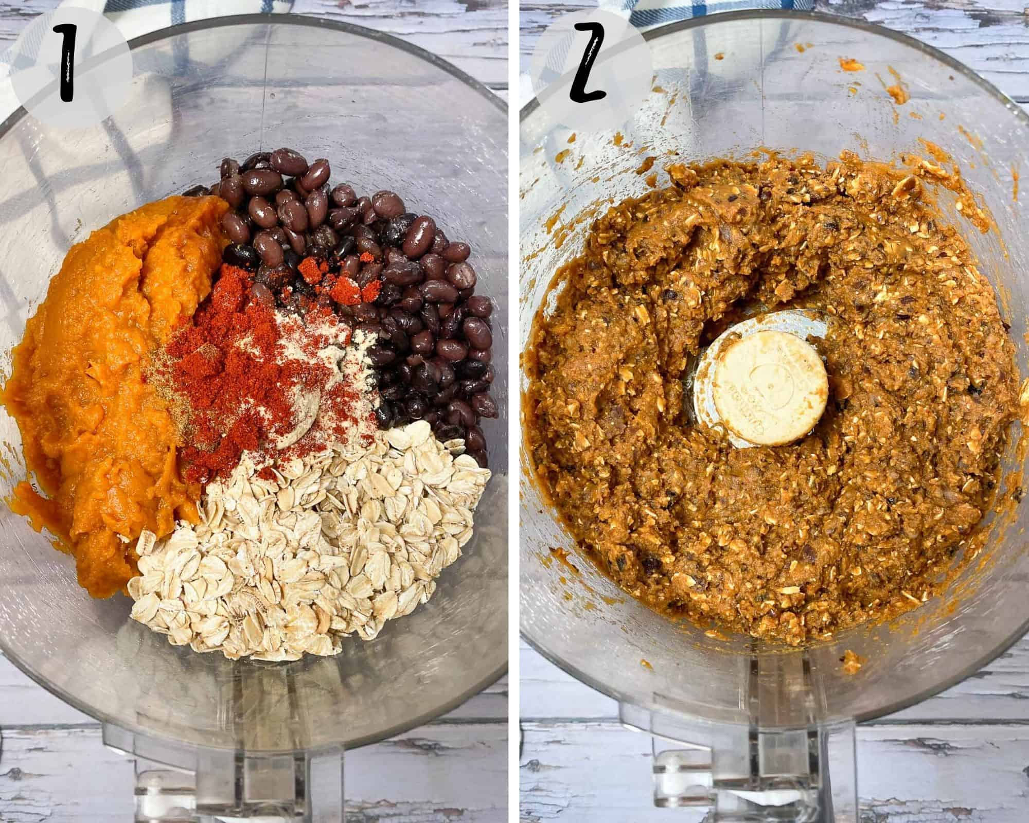food processor with beans, oats, pumpkin puree and seasoning
