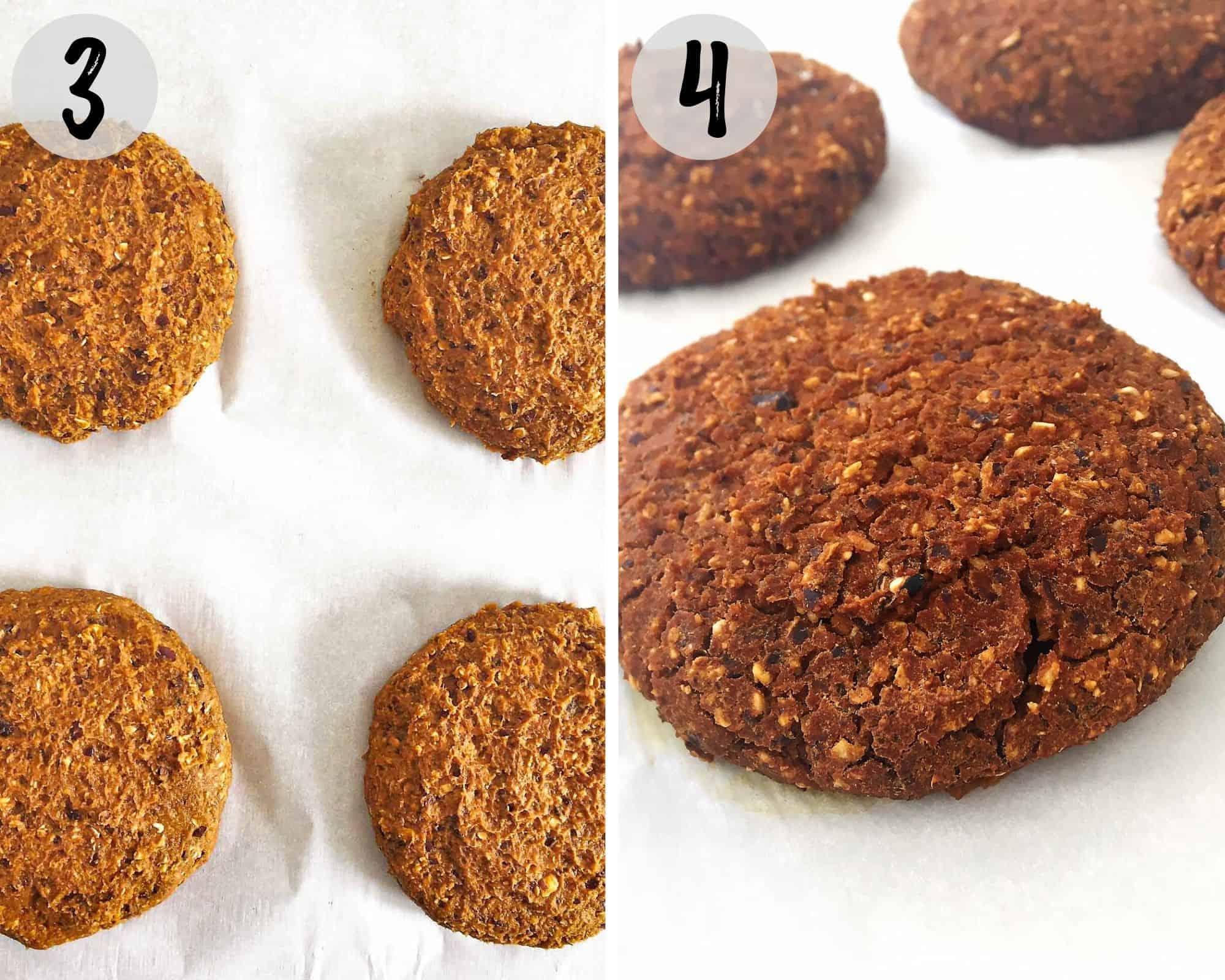 veggie patties on baking tray before and after cooking