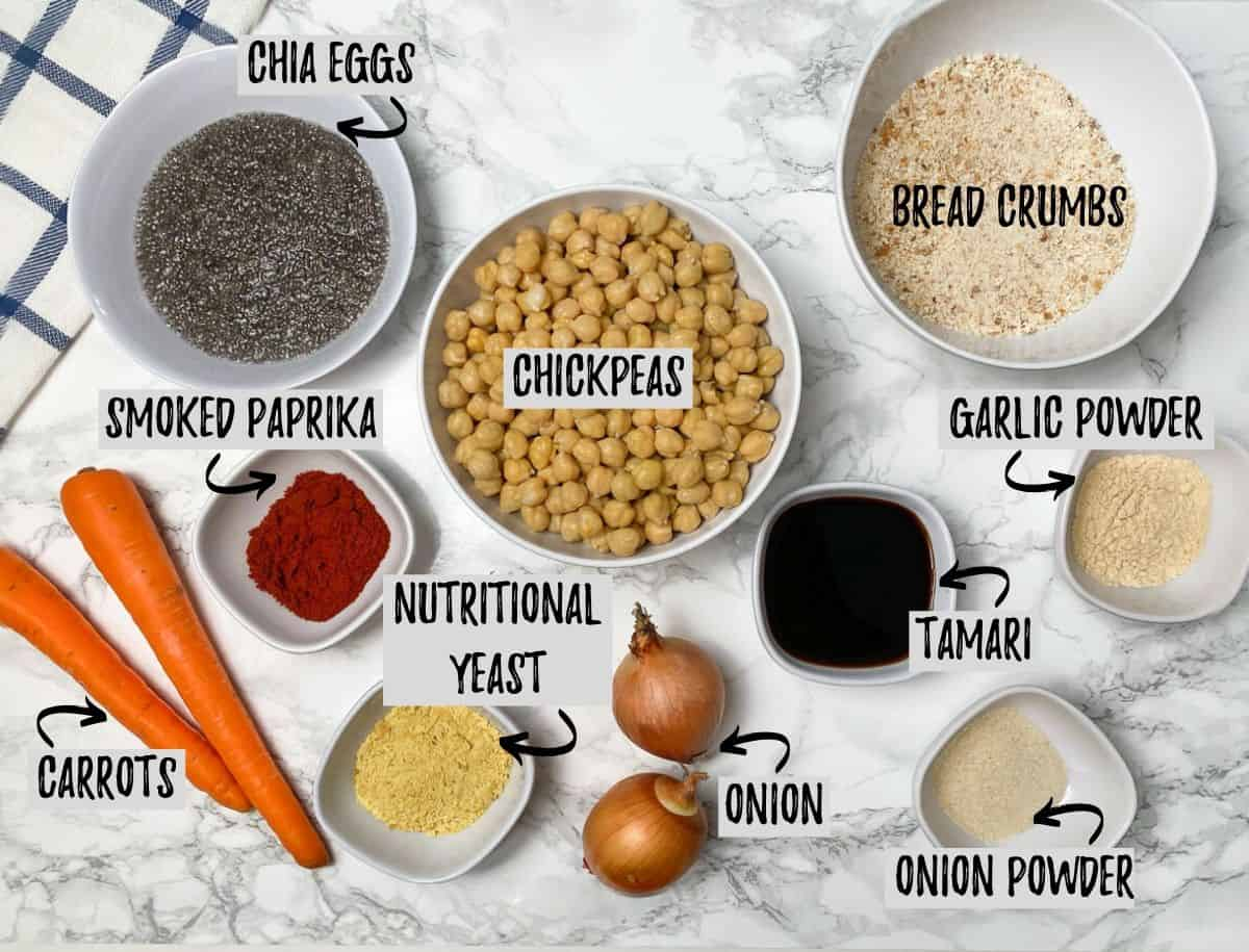 ingredients to make chickpea meatloaf