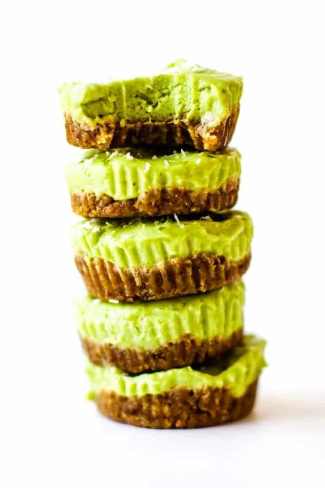avocado key lime cup cakes stacked in a tower