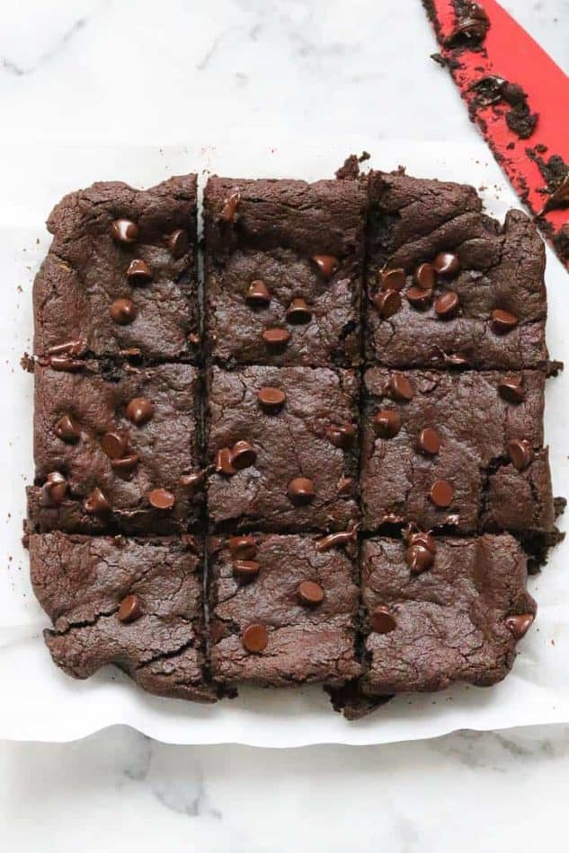 avocado brownies cut into squares