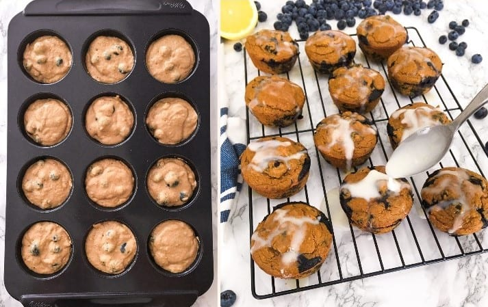 muffins in muffin tray and being glazed