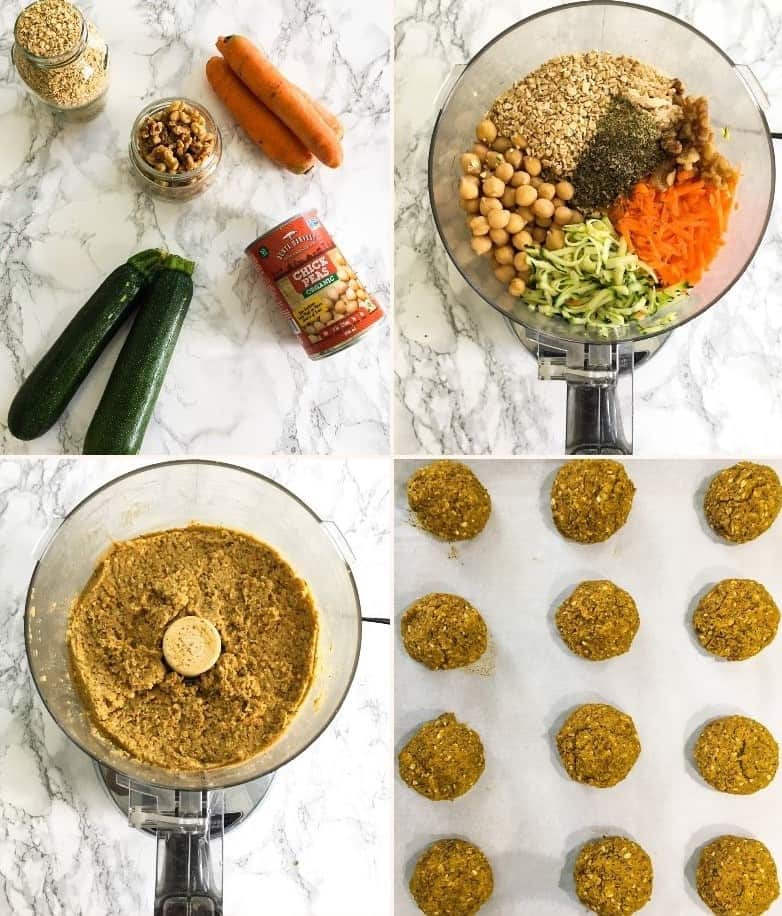 collage of steps to make zucchini meatballs