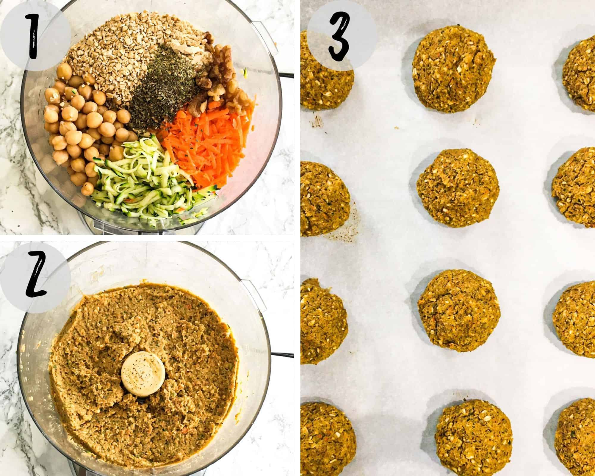shredded veggies, chickpeas, oats and seasoning in food processor to make batter