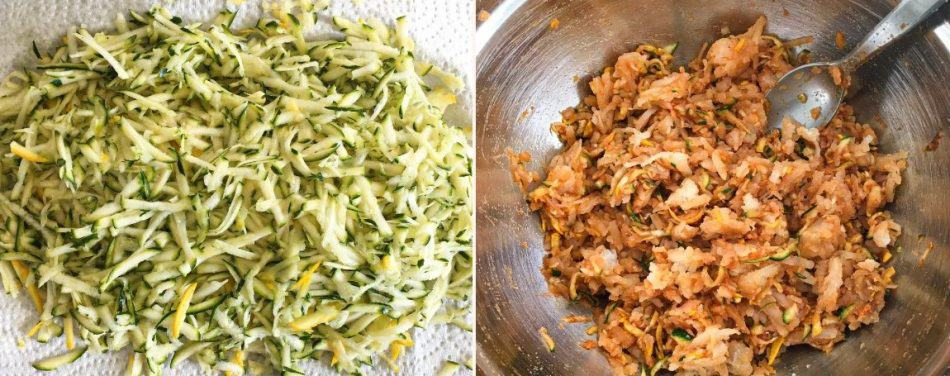 shredded zucchini and potato