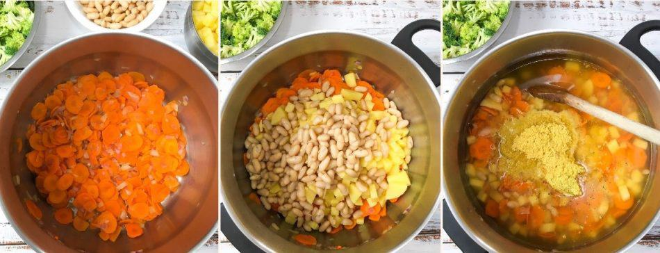 pot with carrots, white beans, broth, for soup