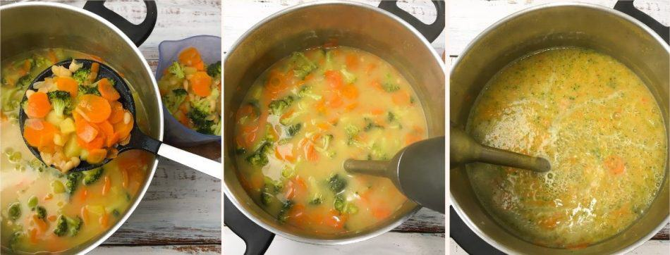 immersion blender pureeing soup in large pot
