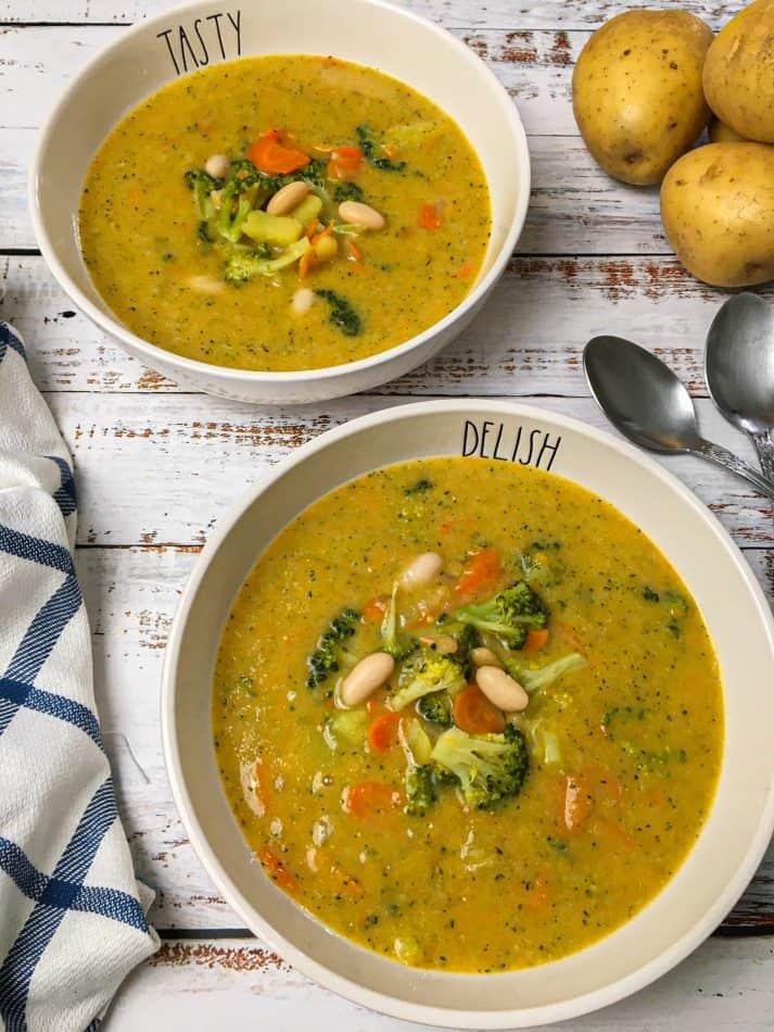 broccoli potato soup in two bowls
