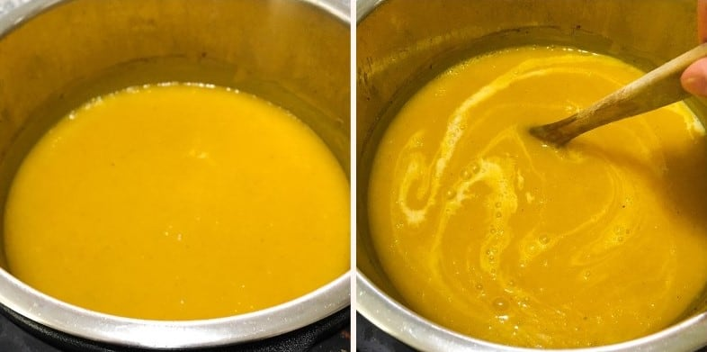 butternut squash soup in instant pot after pureeing