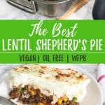 Pinterest image of shepherd's pie with text overlay.
