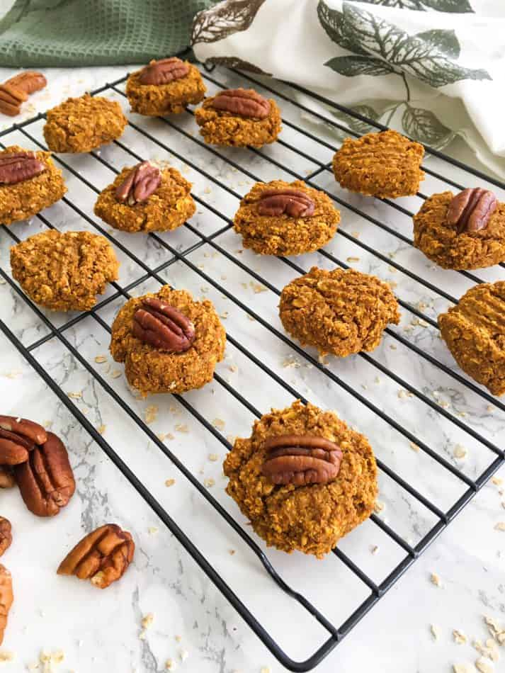 pecan pumpkin cookies on cooling rack
