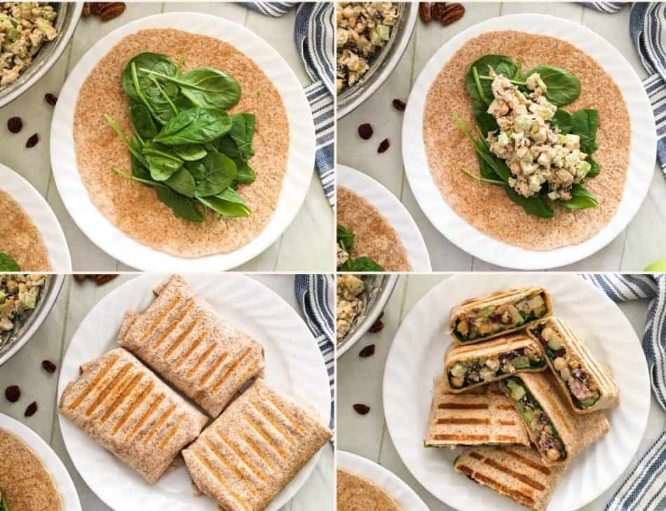 tortilla wrap with spinach and chickpea salad being prepared