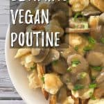 vegan poutine PIN with text overlay.