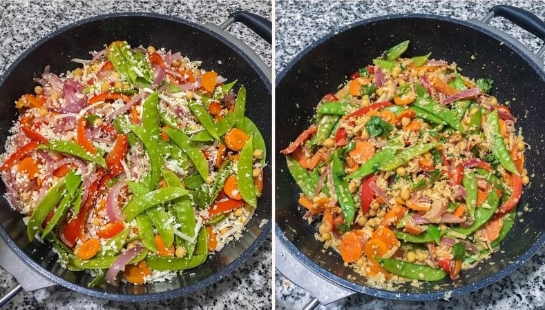 sauteed veggies and cauliflower rice in large skillet