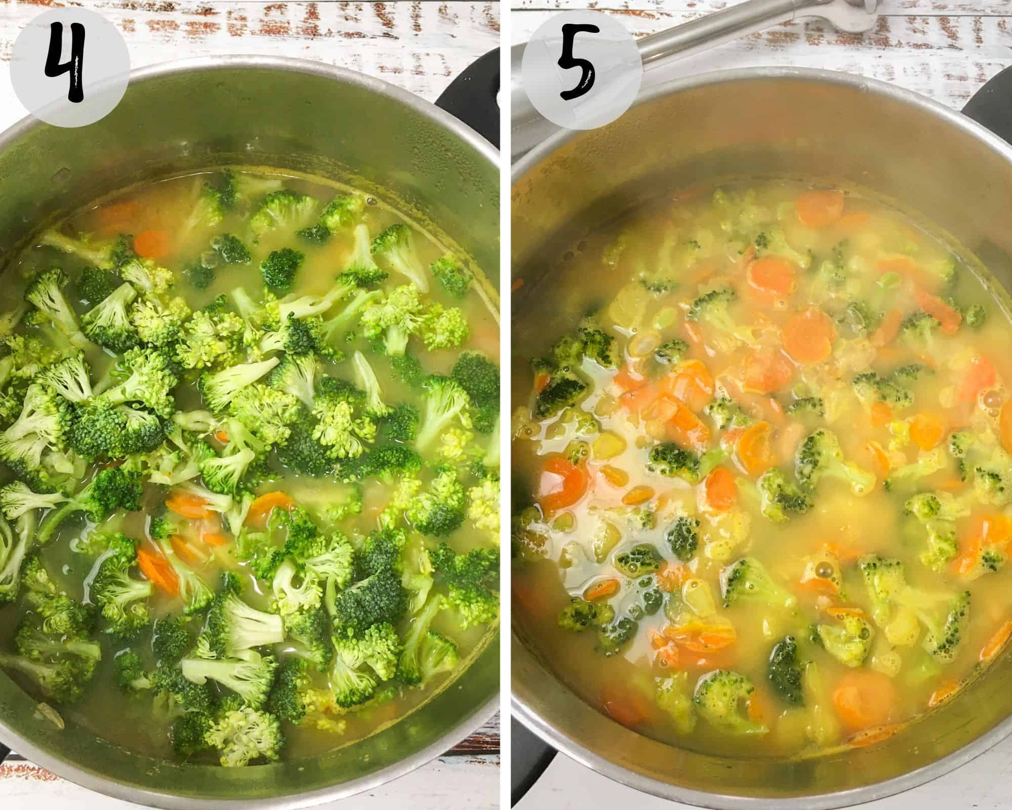 pot of broccoli soup cooking