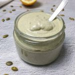 vegan mayo in jar with spoon inside