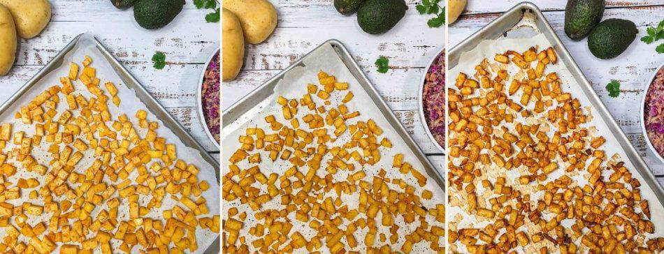 baking tray with diced potatoes