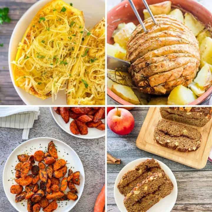 Collage of vegan thanksgiving recipes.