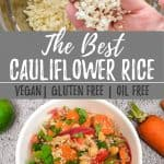 asian cauliflower rice stir fry PIN image with text overlay.