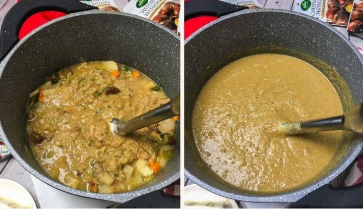 chestnut soup in large pot being pureed with immersion blender