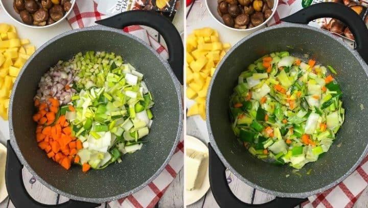 pot with chopped up shallots, leek, carrots, celery inside