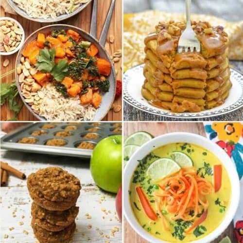 recipe collage with curry, pancakes, muffins and soup