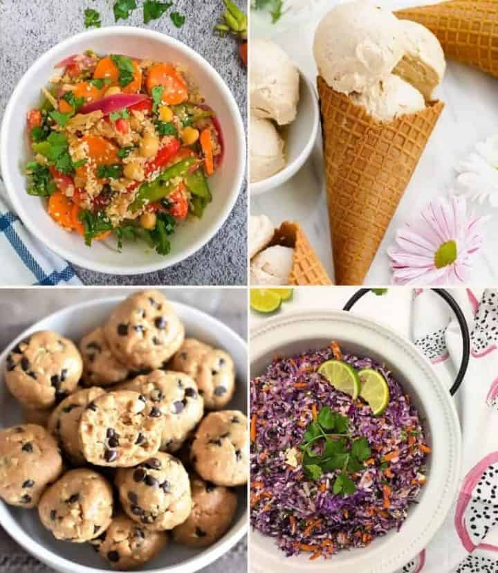 collage of images, cauliflower stir fry, peanut butter ice cream, peanut butter chocolate chip energy balls, coleslaw salad