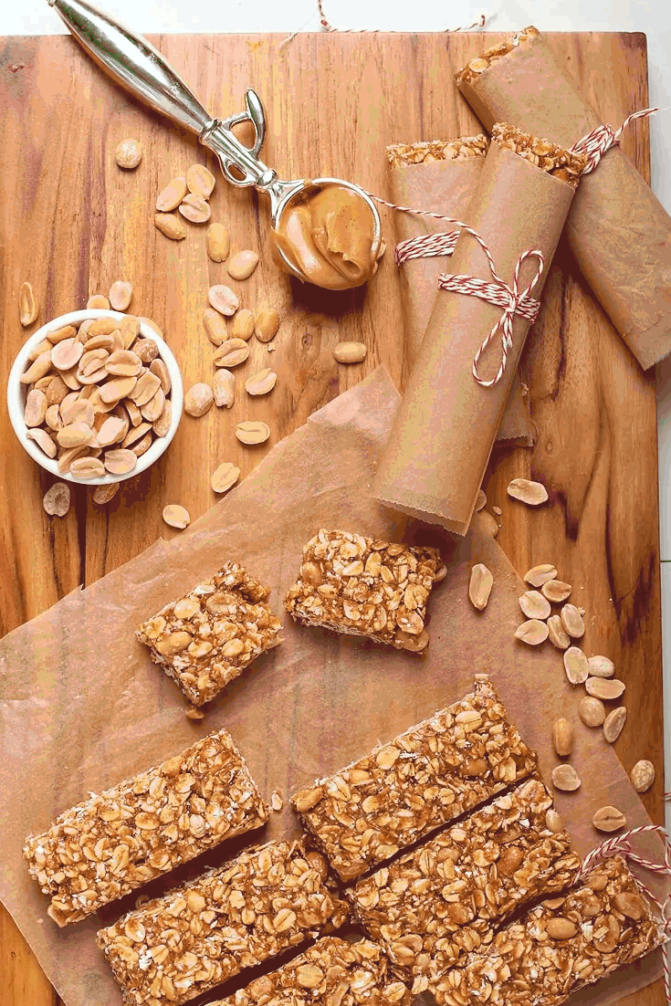 peanut butter granola bars on cutting board