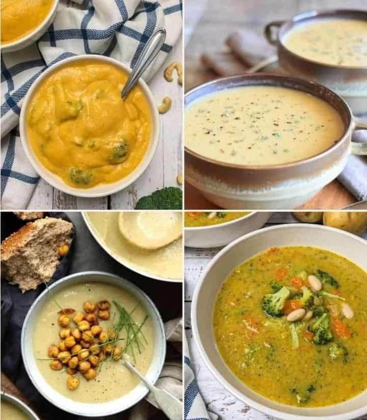 collage of four vegan soup recipes