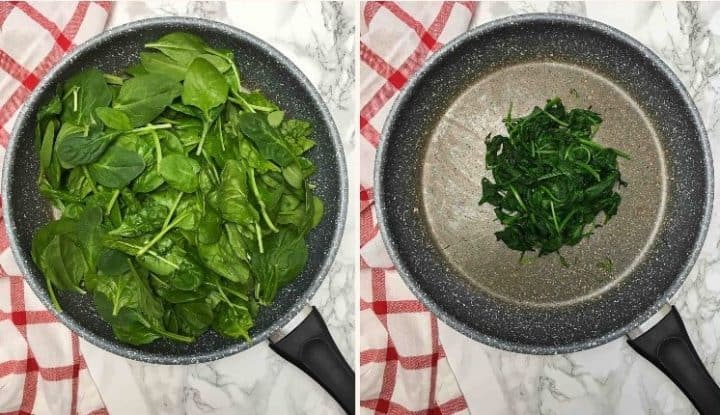 spinach in large skillet being wilted