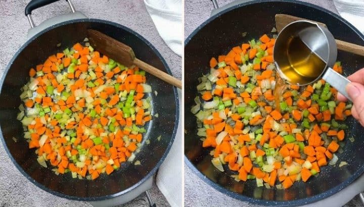 sauteed onion, carrot and celery in large skillet