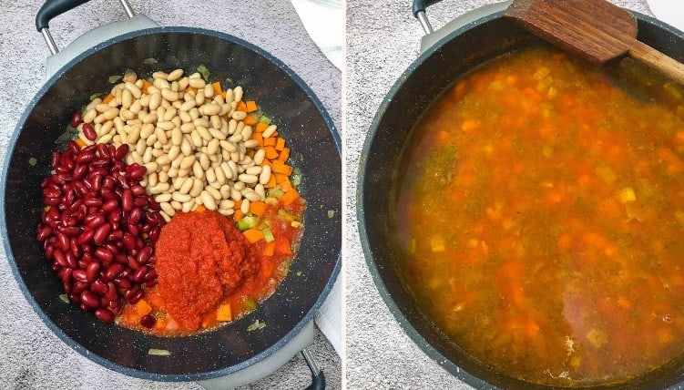 large skillet with beans, tomato sauce, and vegetables