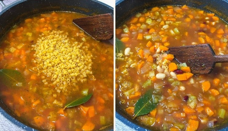 pasta e fagioli cooking in deep pot