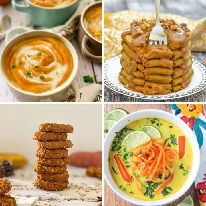 Collage of images of recipes featuring sweet potatoes.